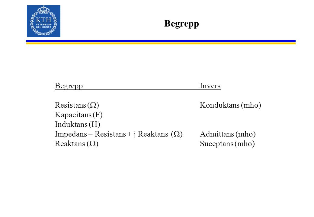 Begrepp Begrepp Invers Resistans (W) Konduktans (mho) Kapacitans (F)