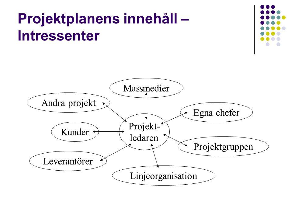 Projektplanens innehåll – Intressenter