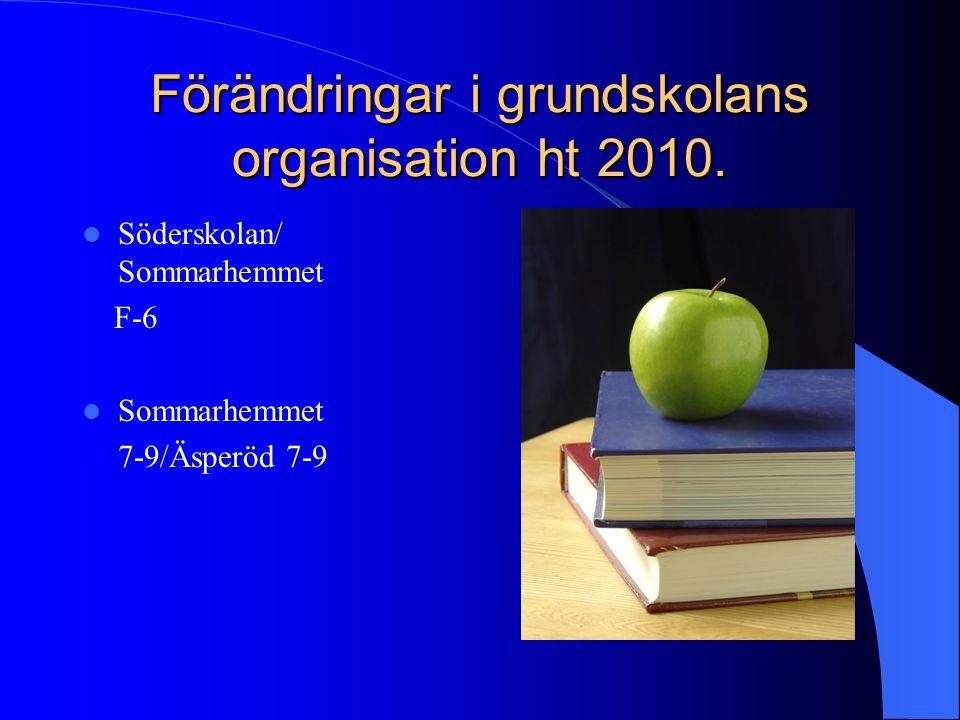 Förändringar i grundskolans organisation ht 2010.