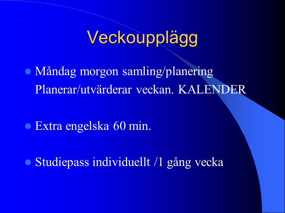 Veckoupplägg Måndag morgon samling/planering