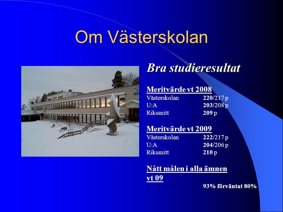 Om Västerskolan Bra studieresultat Meritvärde vt 2008