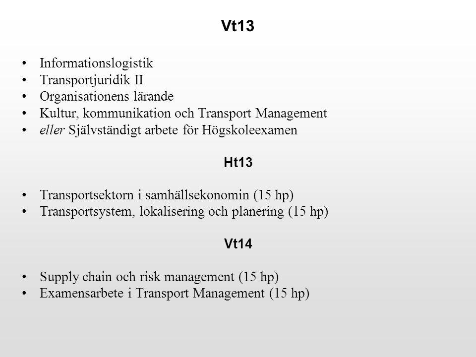 Vt13 Informationslogistik Transportjuridik II Organisationens lärande