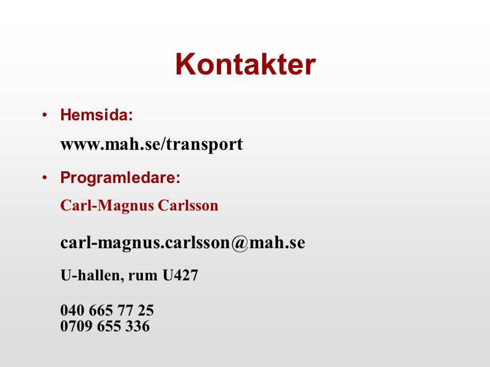 Kontakter Hemsida: www.mah.se/transport