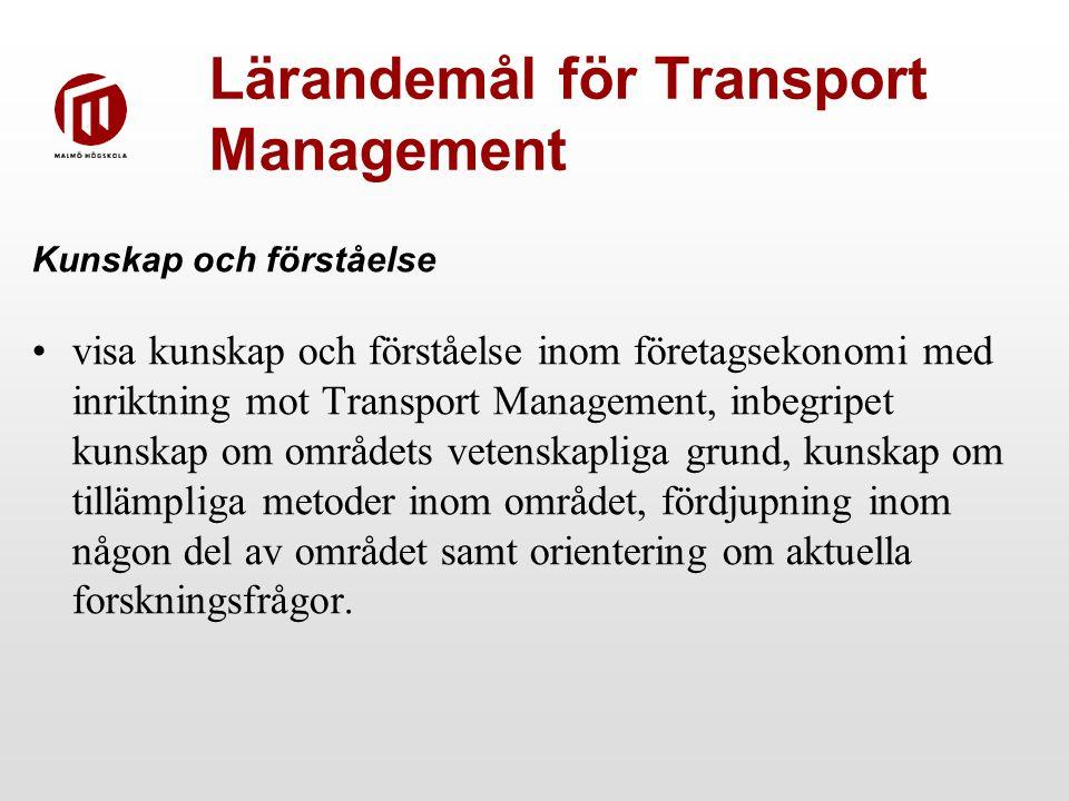 Lärandemål för Transport Management