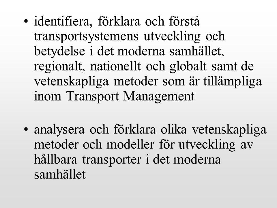 identifiera, förklara och förstå transportsystemens utveckling och betydelse i det moderna samhället, regionalt, nationellt och globalt samt de vetenskapliga metoder som är tillämpliga inom Transport Management
