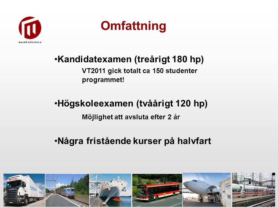 Omfattning Kandidatexamen (treårigt 180 hp) VT2011 gick totalt ca 150 studenter programmet!