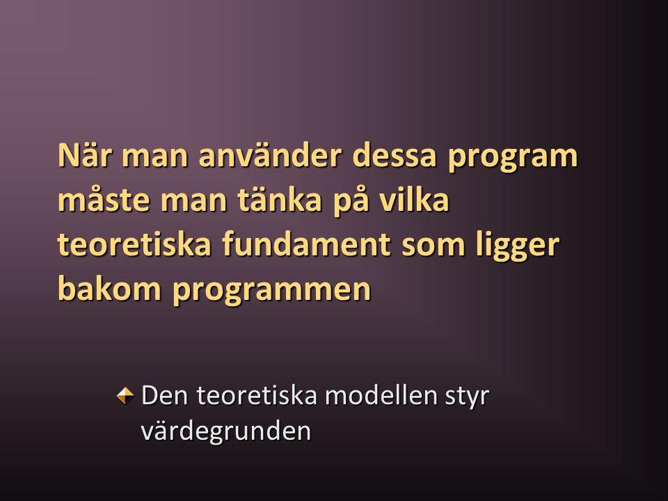 När man använder dessa program måste man tänka på vilka teoretiska fundament som ligger bakom programmen