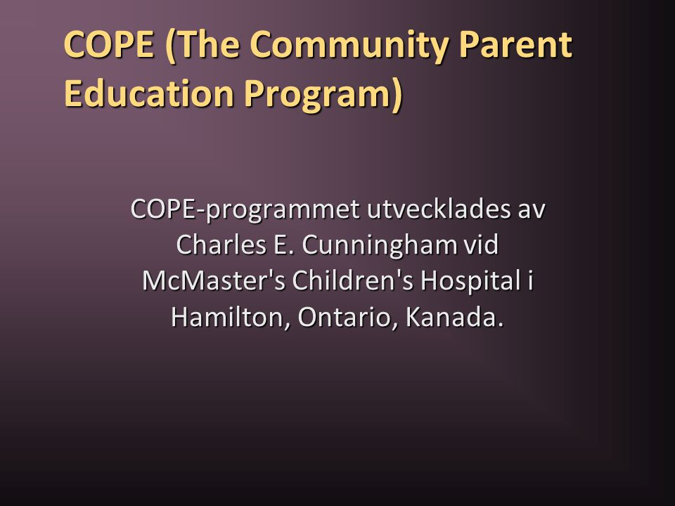 COPE (The Community Parent Education Program)