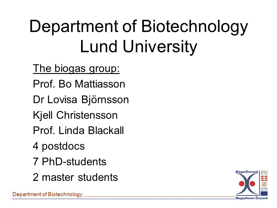 Department of Biotechnology Lund University