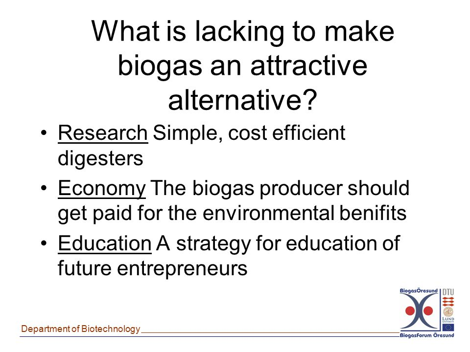 What is lacking to make biogas an attractive alternative