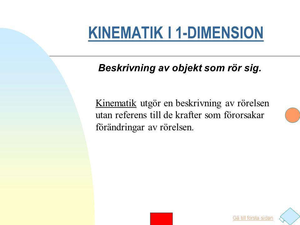 KINEMATIK I 1-DIMENSION