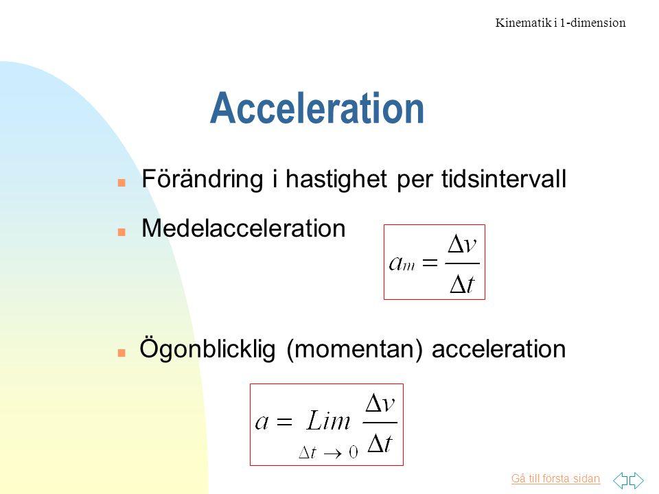 Acceleration Förändring i hastighet per tidsintervall