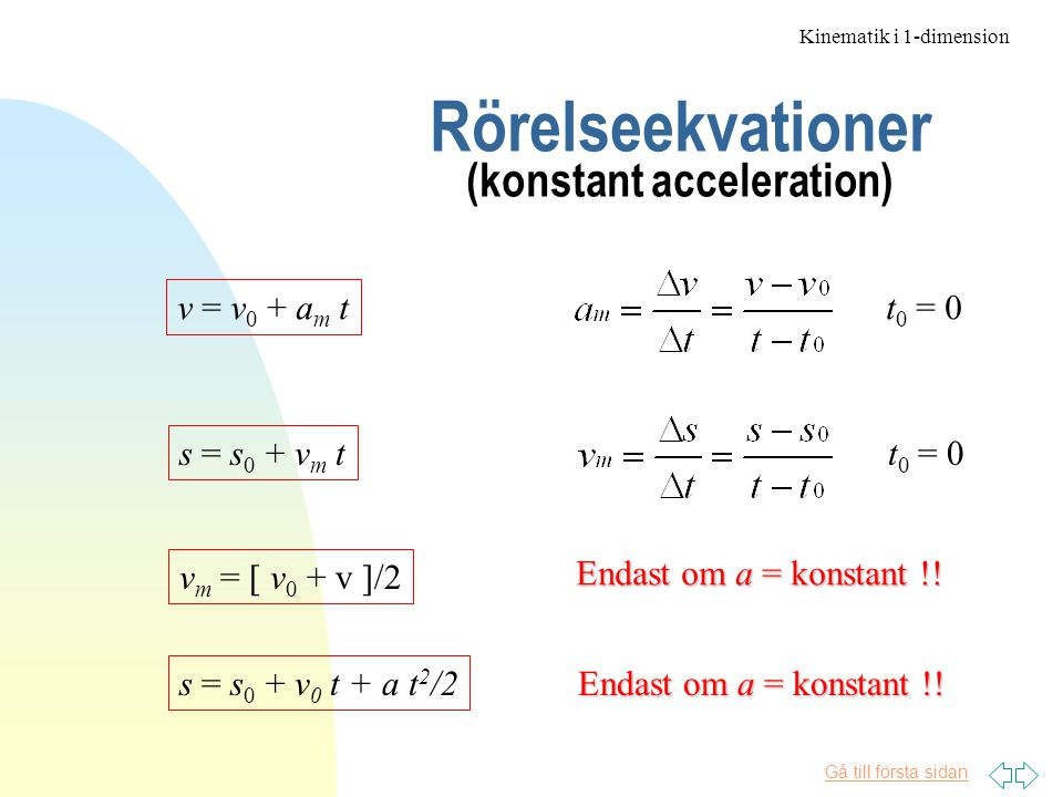 Rörelseekvationer (konstant acceleration)