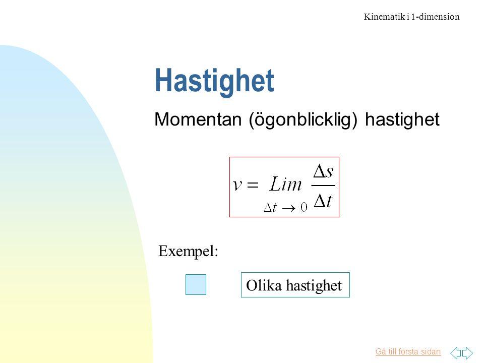 Hastighet Momentan (ögonblicklig) hastighet Exempel: Olika hastighet