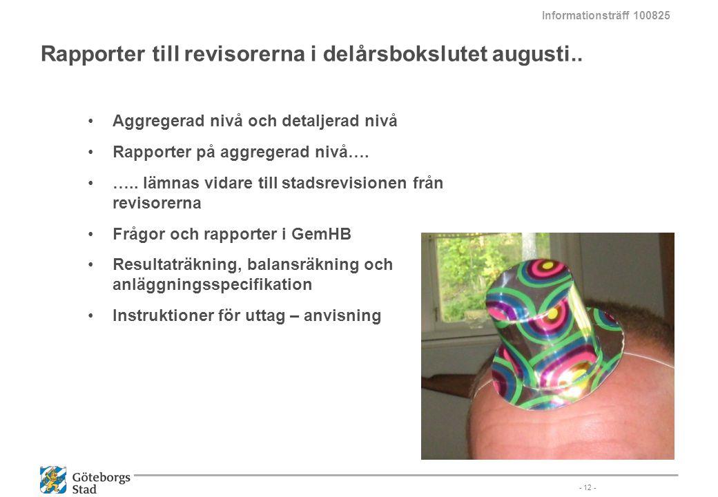Rapporter till revisorerna i delårsbokslutet augusti..