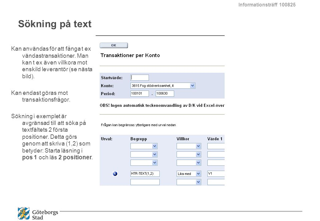 Informationsträff 100825 Sökning på text.