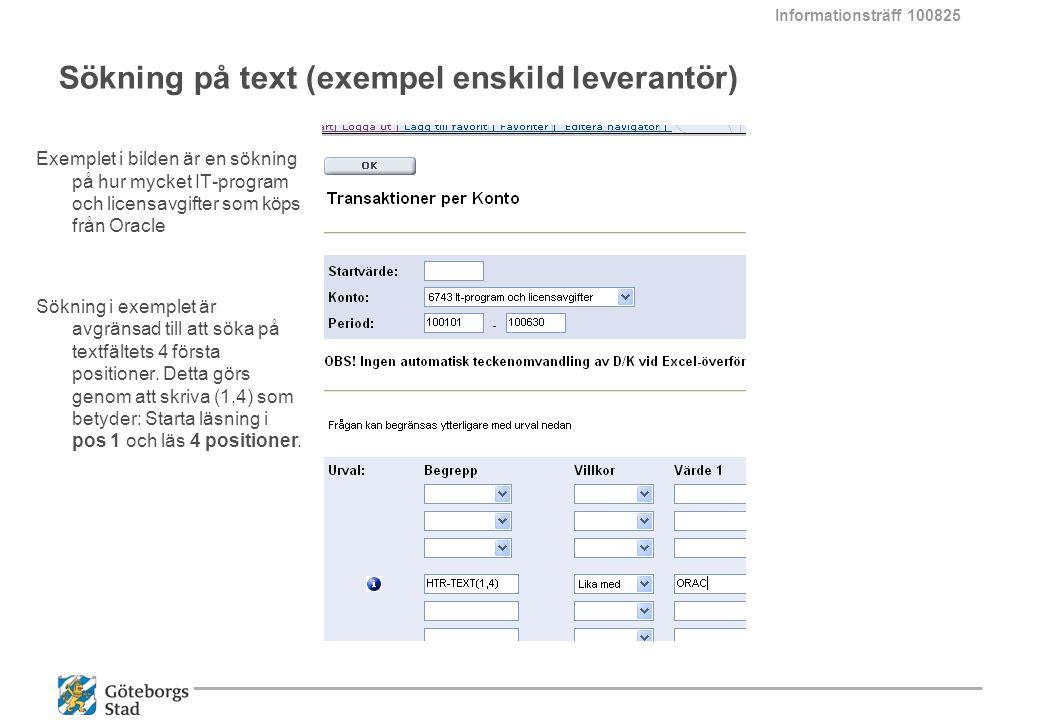 Sökning på text (exempel enskild leverantör)