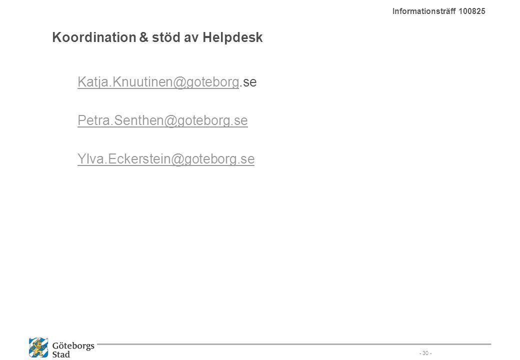 Koordination & stöd av Helpdesk