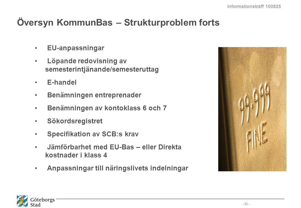 Översyn KommunBas – Strukturproblem forts