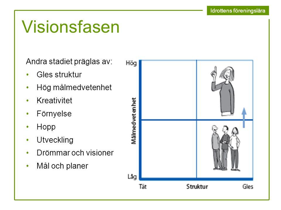 Visionsfasen Andra stadiet präglas av: Gles struktur