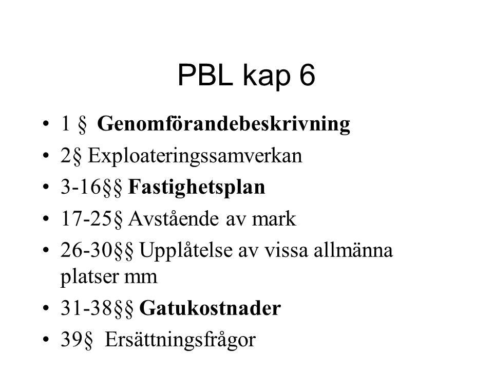 PBL kap 6 1 § Genomförandebeskrivning 2§ Exploateringssamverkan