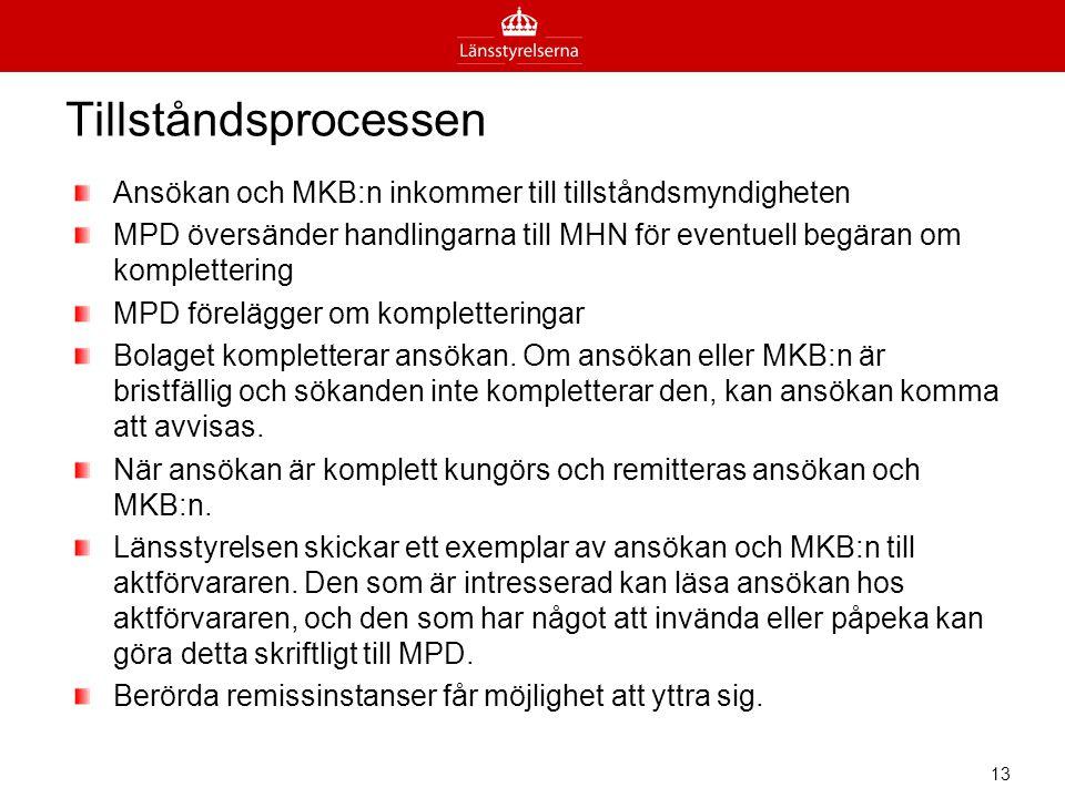 Tillståndsprocessen Ansökan och MKB:n inkommer till tillståndsmyndigheten.