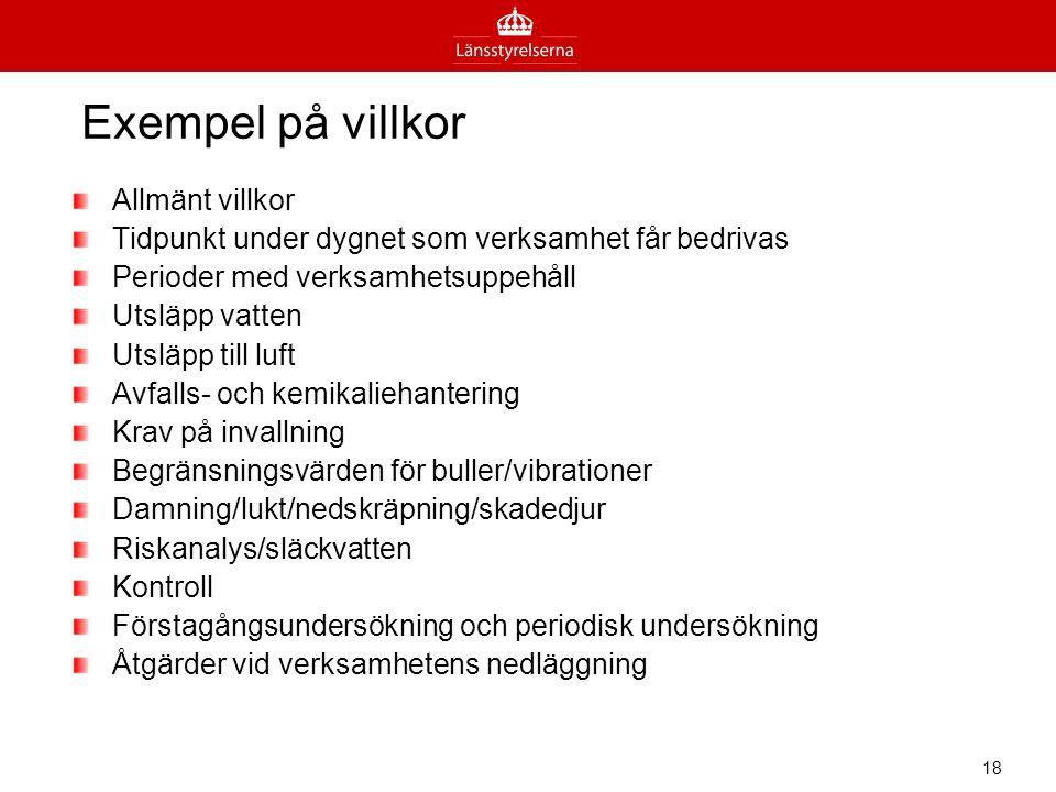 Exempel på villkor Allmänt villkor