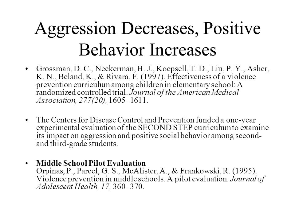 Aggression Decreases, Positive Behavior Increases