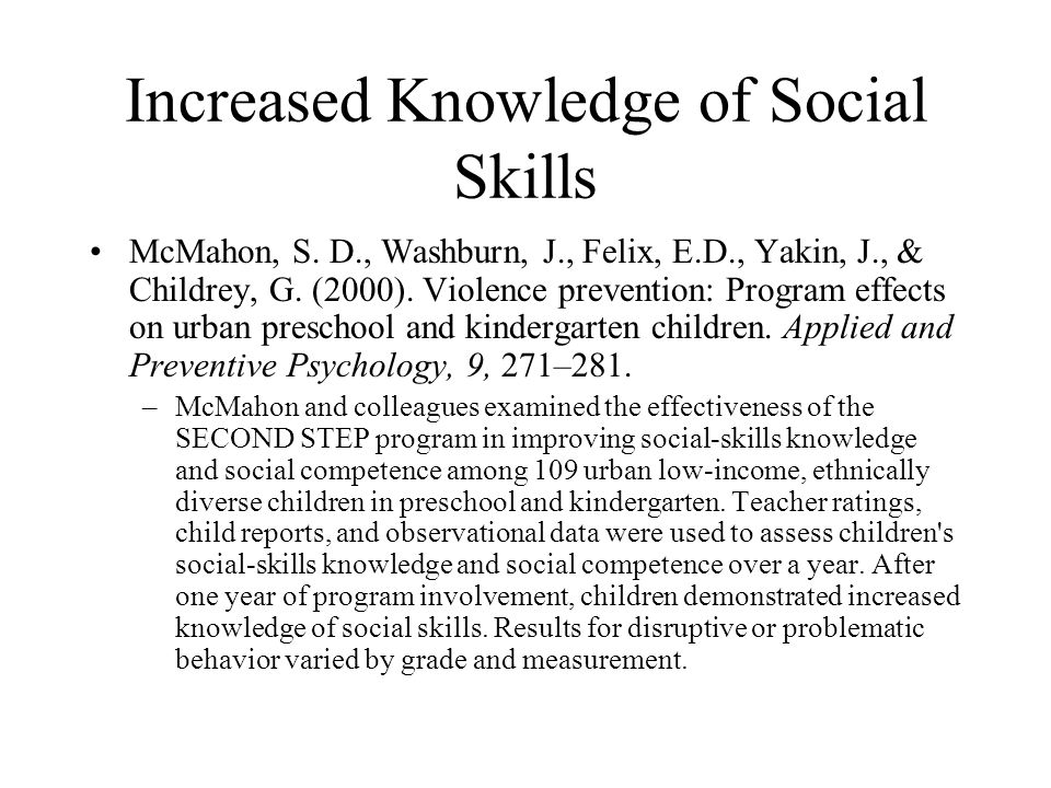 Increased Knowledge of Social Skills