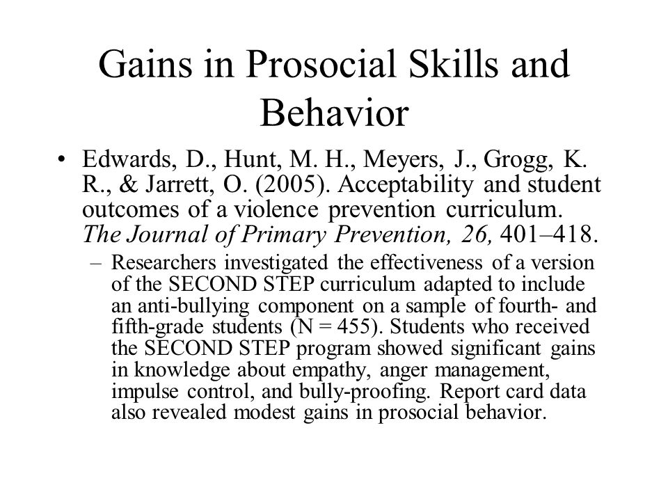 Gains in Prosocial Skills and Behavior