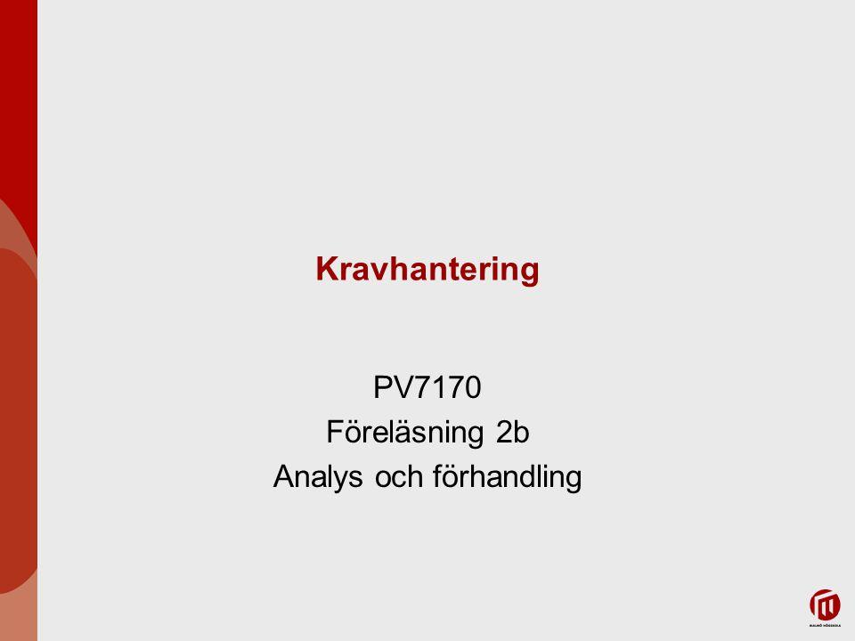 PV7170 Föreläsning 2b Analys och förhandling