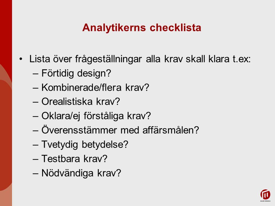 Analytikerns checklista