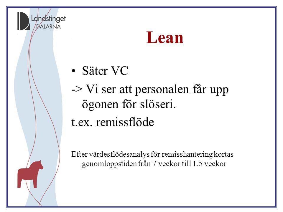 Lean Säter VC -> Vi ser att personalen får upp ögonen för slöseri.