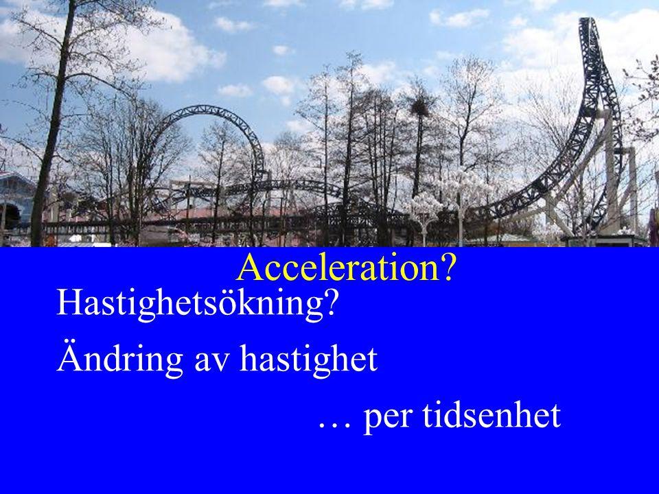 Acceleration Hastighetsökning Ändring av hastighet … per tidsenhet
