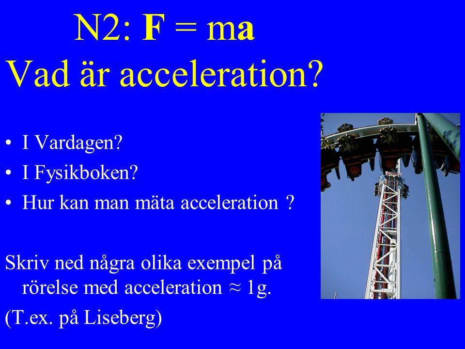N2: F = ma Vad är acceleration