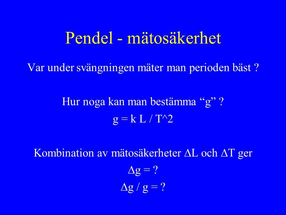 Pendel - mätosäkerhet Var under svängningen mäter man perioden bäst