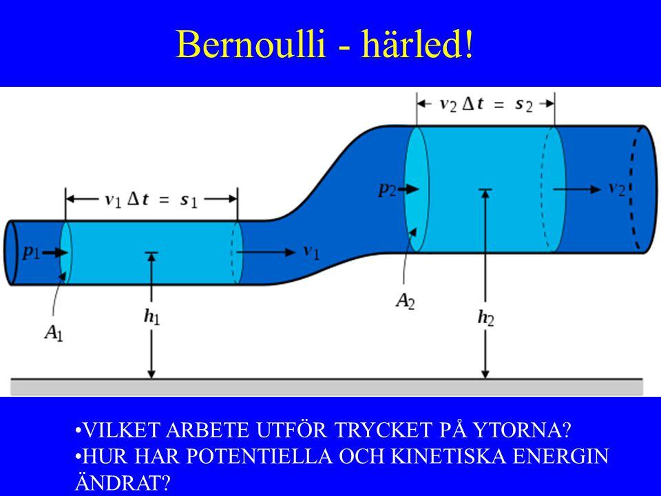 Bernoulli - härled! VILKET ARBETE UTFÖR TRYCKET PÅ YTORNA