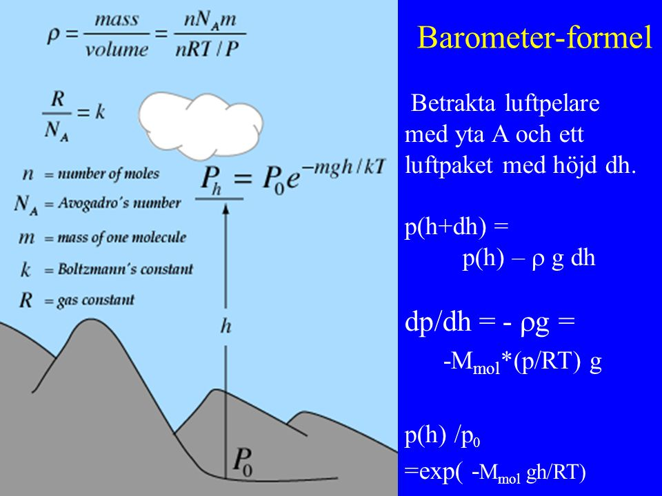 Barometer-formel dp/dh = - g =