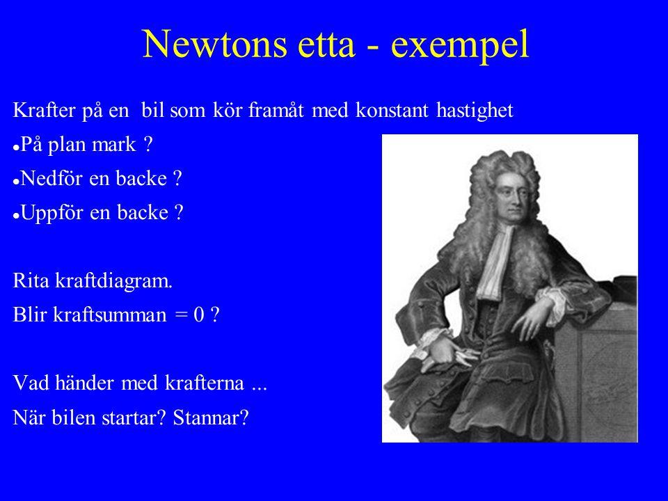 Newtons etta - exempel Krafter på en bil som kör framåt med konstant hastighet. På plan mark Nedför en backe