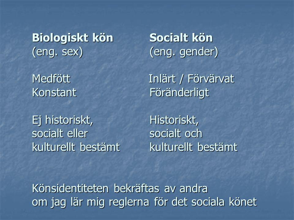 Biologiskt kön. Socialt kön (eng. sex). (eng. gender) Medfött