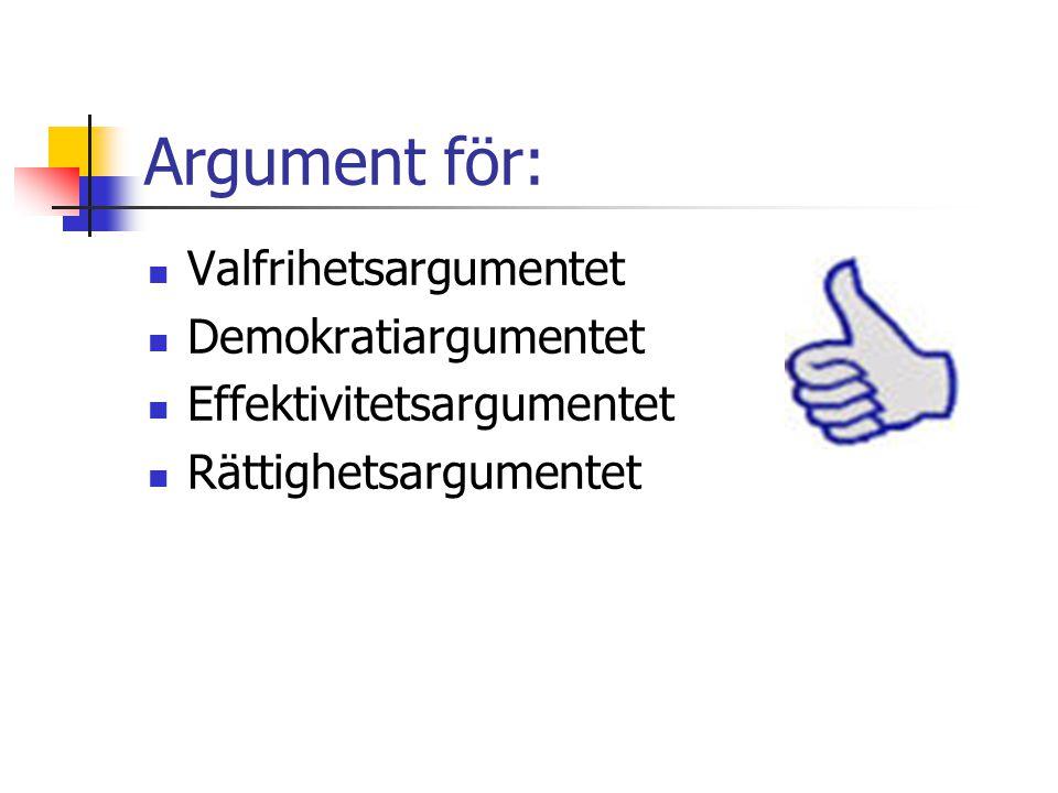 Argument för: Valfrihetsargumentet Demokratiargumentet
