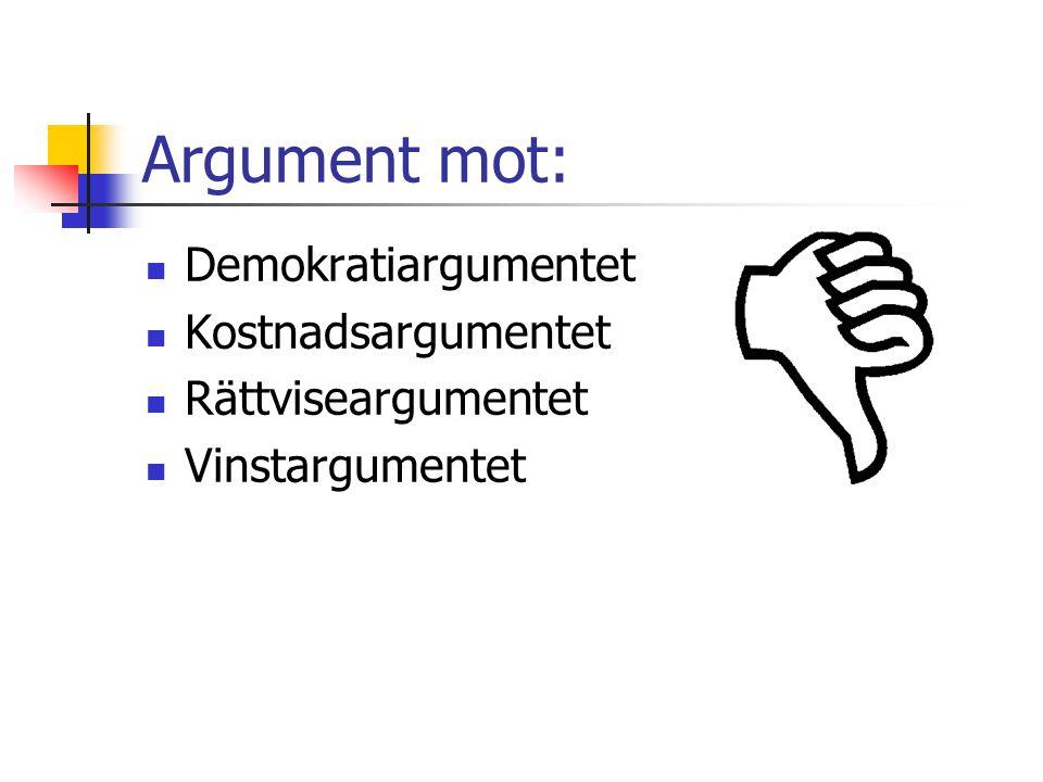 Argument mot: Demokratiargumentet Kostnadsargumentet