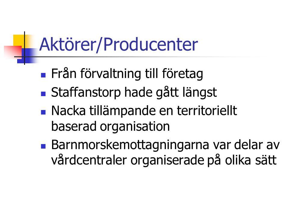 Aktörer/Producenter Från förvaltning till företag