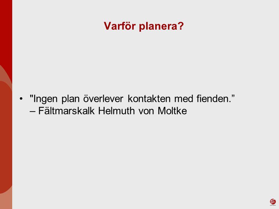 Varför planera Ingen plan överlever kontakten med fienden. – Fältmarskalk Helmuth von Moltke