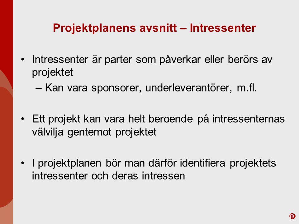 Projektplanens avsnitt – Intressenter