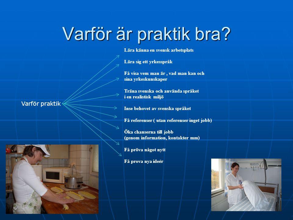 Varför är praktik bra Varför praktik Lära känna en svensk arbetsplats