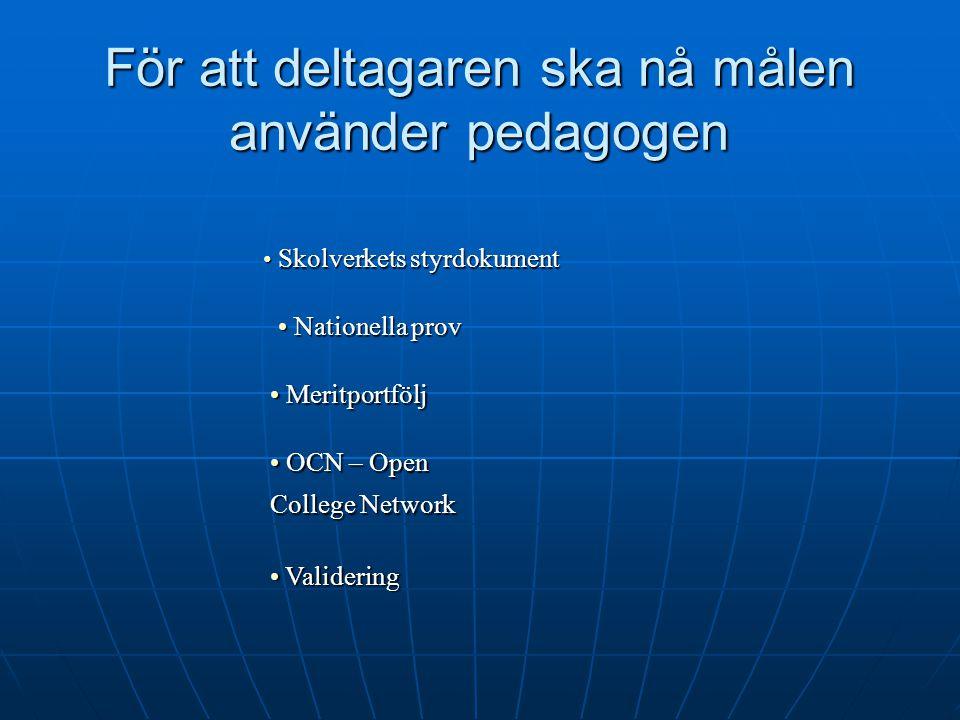 För att deltagaren ska nå målen använder pedagogen