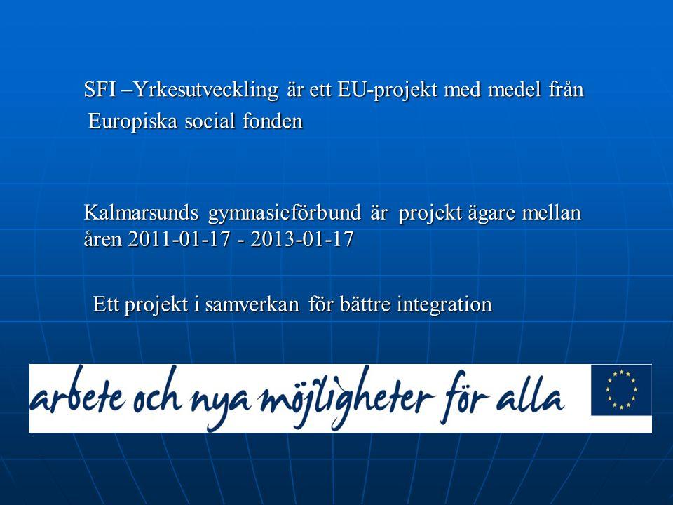 SFI –Yrkesutveckling är ett EU-projekt med medel från Europiska social fonden