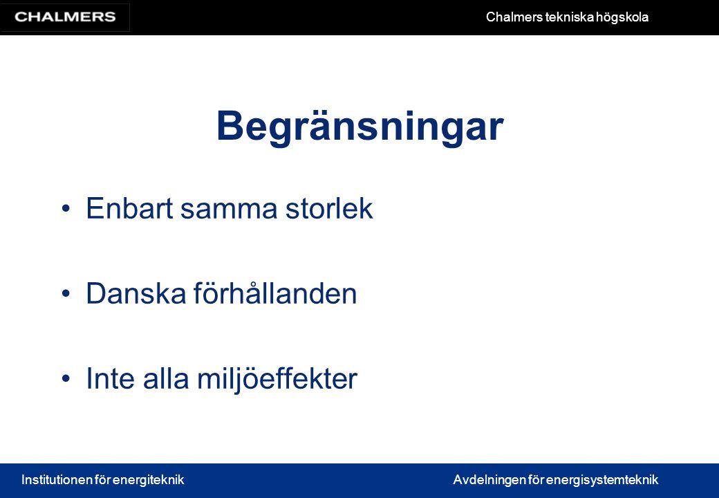 Begränsningar Enbart samma storlek Danska förhållanden