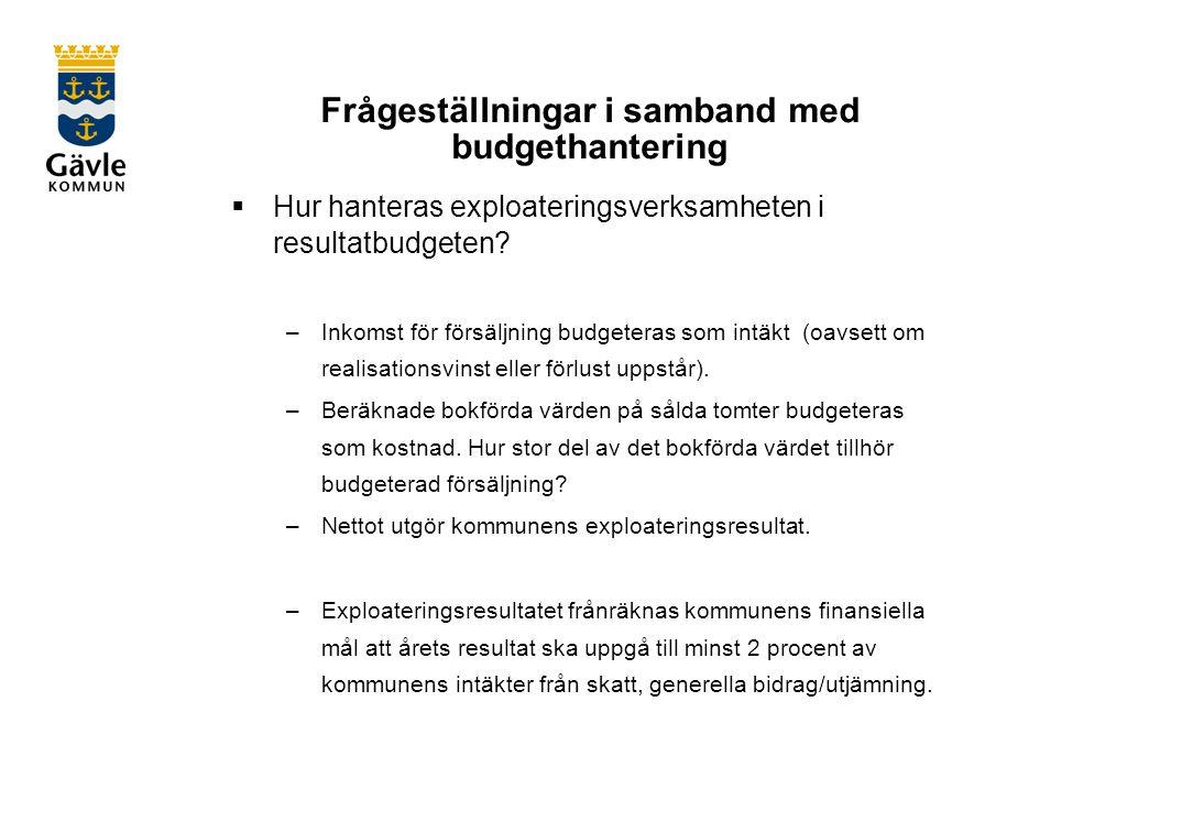 Frågeställningar i samband med budgethantering